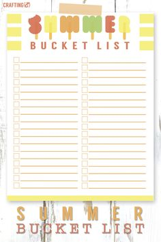 Summer bucket list printable 2015