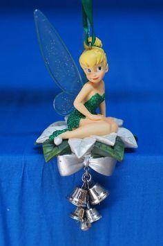 Tinker Bell Poinsettia & Bells Christmas Ornament 2009 Disney Store Peter Pan #DisneyStore