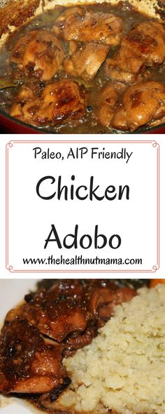 Paleo Chicken Adobo. AIP Friendly, Easy & Delicious! One of my new favorite ways to cook chicken! www.thehealthnutmama.com