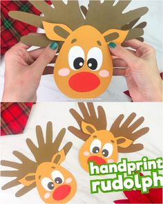 This handprint Rudolph the red nosed reindeer craft for kids is a fun holiday activity to make at Christmas time! It's a simple and easy paper craft that's perfect for preschool, kindergarten and elem Christmas Handprint Crafts, Reindeer Handprint, Reindeer Craft, Xmas Crafts, Halloween Crafts, Holiday Crafts For Kids, Christmas Activities, Kids Christmas, Diy Crafts For Kids