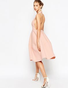 Image 2 of ASOS PETITE Premium Scuba Backless Halter Full Midi Dress