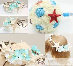 Beach Wedding Bridal Hair Accessories: Bridal Head Wreath Seashells For Bridesmaids
