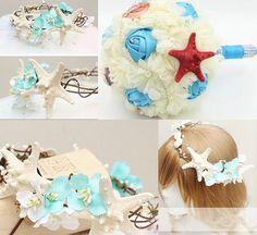 Beach Wedding Bridal Hair Accessories: Bridal Head Wreath Seashells For Bridesmaids