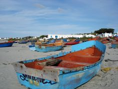 Fishermen's boats in Paternoster - West Coast - South Africa. Fruit Painting, Boat Painting, West Coast Fishing, Seaside Holidays, Old Boats, Cape Town South Africa, Photography Pics, Nature Scenes, Africa Travel