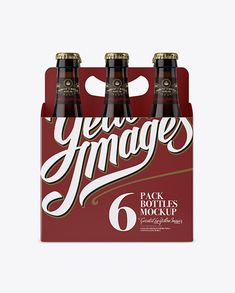 White Paper 6 Pack Amber Bottle Carrier Mockup - Front View (Preview)