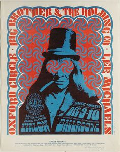 """Big Brother and the Holding Company """"Top Hat"""" Avalon Concert Poster Family Dog 1966"""