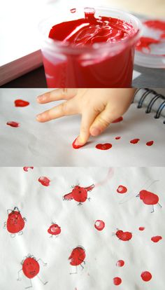 Try making a fabric print with kid's finger.