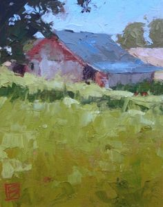 Morning Shadow, painting by artist David Boyd, Jr. Abstract Landscape Painting, Landscape Art, Landscape Paintings, Oil Painting Supplies, Oil Painting Techniques, Farm Paintings, Building Painting, Barn Art, Country Scenes