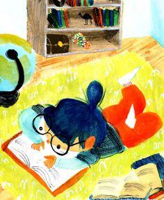 Aprovechando cualquier momento para leer (ilustración de Karina Cocq)