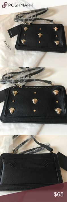 Zara Black and Silver Wallet Purse NWT. Zara Black and silver beaded wallet purse. The strap length is 2 feet. Really cute and small, easy for on the go. Zara Bags Crossbody Bags