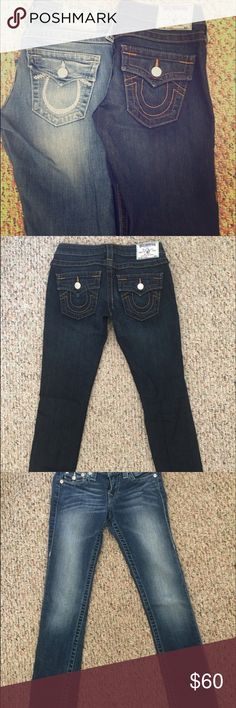 True Religion Jeans One is dark blue & the other is lighter with diamonds on the horse shoe True Religion Jeans Skinny