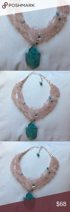 "New Rose quartz necklace with  jasper pendant Pink quartz necklace with beautiful turquoise color imperial jasper pendant. Approximately 18"" length  Hand crafted  Please ask me question if you have one. Jewelry Necklaces"