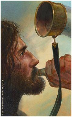Boromir by John Howe ~ I see a pretty fair self portrait of the artist here