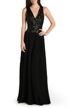 Dress the Population 'Caroline' Sequin & Chiffon Gown available at #Nordstrom