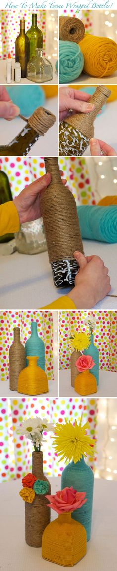 Learn how to DIY twine and yarn wrapped bottles as centerpieces! See the full tutorial on http://www.weddingwindow.com/blog/2012/04/23/diy-centerpieces-wrapped-bottles/