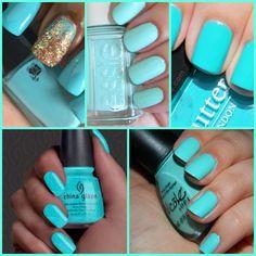 fav blue nail polishes sex in the city- china glaze tiffany blue- Essie