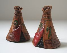 Vintage Salt and Pepper Shakers, American Indian Teepee Wooden Teepee, Indian Teepee, Salt And Pepper Set, American Indians, Native American, Salt Pepper Shakers, Thanksgiving Decorations, Vintage Wood, Decorative Bells