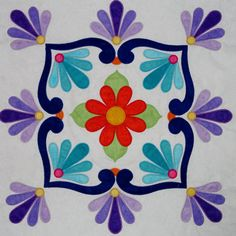Fiesta de Talavera -- This breathtaking quilt pattern was inspired by painted Mexican Talavera tiles. Nine applique blocks along with an applique border. Finished quilt size is x design by J. Quilt Block Patterns, Applique Patterns, Applique Quilts, Embroidery Applique, Quilt Blocks, Embroidery Stitches, Machine Embroidery, Embroidery Designs, Mexican Pattern