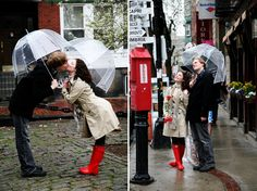 love the clear bubble umbrellas and red boots