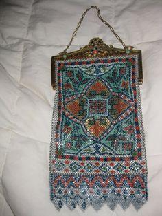 Rare Large Antique Edwardian MANDALIAN PERSIAN RUG Design Enameled Mesh Purse Bag.  via Etsy.