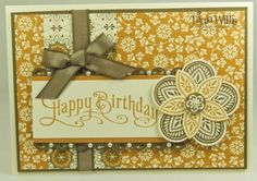 Stampin Up Triple Treat Flower and Perfectly Penned with these colors, ribbon, border and pearls make a brilliant match