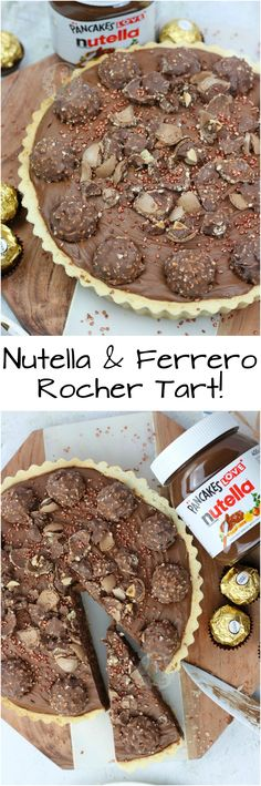 A Sweet Shortcrust Pastry Base, with a Layer of Nutella, and a Chocolate Nutella & Ferrero Rocher Tart! A Sweet Shortcrust Pastry Base, with a Layer of Nutella, and a Chocolate Nutella Mousse Filling with Ferrero Rocher! Pastry Recipes, Tart Recipes, Baking Recipes, Sweet Recipes, Dessert Recipes, Mug Cake Nutella, Nutella Mousse, Ferrero Rocher, Ferrero Nutella