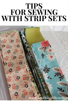 Quilting Tips for sewing with jelly roll strips and strip sets for more accurate cutting, sewing, and piecing. - The best tips for sewing with strip sets. Learn how to make your jelly roll and strip set projects sew together more quickly and accurately. Quilting Tips, Quilting Tutorials, Sewing Tutorials, Quilting Projects, Serger Projects, Baby Quilt Tutorials, Beginner Quilting, Quilting Fabric, Jellyroll Quilts