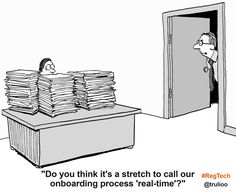 """Do you think it's a stretch to call our onboarding process """"real-time""""? Financial Institutions, New Technology, Things To Think About, How To Apply, Comics, Cartoons, Future Tech, Comic, Comics And Cartoons"""
