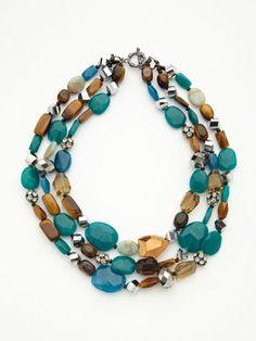 Leslie Danzis crystal, glass & dyed semi precious stone triple strand necklace