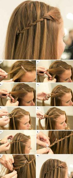 Şelale Örgüsü Kadın Saç Modeli http://www.sacsakalmodelleri.com/selale-orgusu-sac-modeli-yapilisi.html