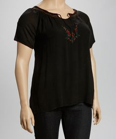 3a2b51e19 Black Embroidered Scoop Neck Top - Plus