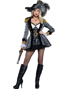 Premium pirate costume for women: This pirate costume for women includes a dress, an underskirt, a hat and a belt. (Gun, stockings and shoes not included.)The premium pirate outfit will be perfect for wearing at your pirate theme. Female Pirate Costume, Pirate Costumes, Adult Costumes, Costumes For Women, Toga Costume, Gothic Fashion, Emo Fashion, Medieval Gown, Gypsy Skirt