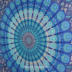"86""X56"" Twin Indian Blue Hippie Mandala Tapestry Wall Hanging Boho Gypsy Decor on RoyalFurnish.com"