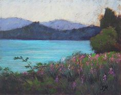 "Daily Paintworks - ""Lakeside Flowers"" - Original Fine Art for Sale - © Tatiana Myers"
