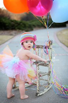 Rainbow Tuiti Fruity crochet earflap flower stripe hat tutu set perfect for newborn or baby girl first birthday photography prop pictures via Etsy