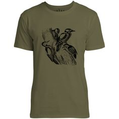Mintage Spotted Woodpecker Family Mens Fine Jersey T-Shirt (Olive)