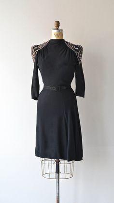 La Reina dress rayon 1940s dress beaded 40s dress by DearGolden