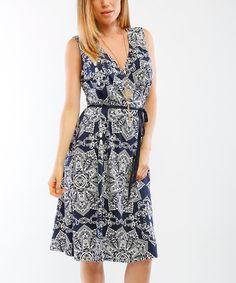 Look at this #zulilyfind! Navy Blue & Ivory Tie-Waist Surplice Dress #zulilyfinds