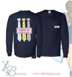 Alpha Xi Delta Bid Day t-shirt! This is a custom order from Xi Boutique. Email custom@xiboutique.com to create your own custom shirt for an event.