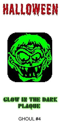 Ghoul #4 Halloween Glow in Dark Window Plaque plastic canvas catalog item by Michael Kramer