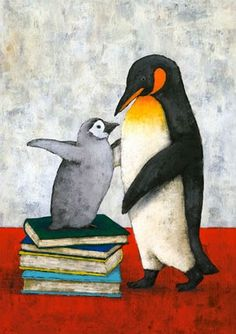 Pinzellades al món: lectura Penguin Art, Penguin Love, Owl Books, Animal Books, Love Book Quotes, I Love Books, Penguin Illustration, Positive Art, Bird Art