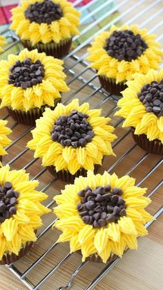 Recipe with video instructions: Much more delicious than an actual bouquet of flowers! Ingredients: Cupcakes:, 1 cup sugar, 1 cup all-purpose flour, cup cocoa powder, tablespoon baking.Looks like a smaller version of the three layer sunflower cake we Cupcake Recipes, Baking Recipes, Dessert Recipes, Gourmet Cupcakes, Party Recipes, Baking Ideas, Keto Recipes, Sunflower Cupcakes, Weight Watcher Desserts