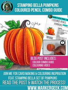 Marker Geek: Colouring Pumpkins using Coloured Pencils. Click through to get the combo guide and watch the colouring video! Copics, Prismacolor, Colouring Techniques, Shading Techniques, Pumpkin Images, Pumpkin Uses, Pumpkin Colors, Coloured Pencils, Color Pencil Art