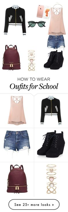 """Back to school"" by hana-hvas on Polyvore featuring Moschino, Glamorous, Topshop, Michael Kors, Ray-Ban, Accessorize, Sole Society, women's clothing, women and female"