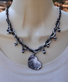 Black and White Building Scape Heart Necklace by JewelryArtByGail