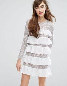 E.F.L.A Ruffle & Lace Smock Dress
