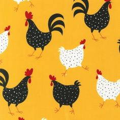 """45"""" Wide, 100% cotton, """"Metro Market"""" by Ellen Krans - 3 1/2"""" large chickens & roosters on yellow background."""