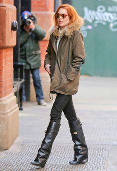 Le look de Lindsay Lohan à New York (franchement, je veux ses bottes)