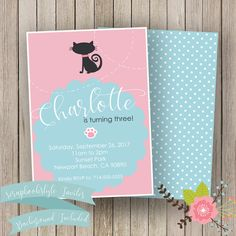 A personal favorite from my Etsy shop https://www.etsy.com/listing/534843193/kitty-cat-birthday-invitation-cat-party