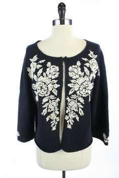 Recycle Your Fashions TALBOTS COLLECTION Navy Blue White FLORAL Knit SWEATER CARDIGAN Blouse TOP L